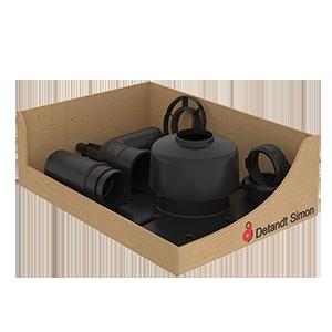 Kit de montage pour flexible PPS Ø80 (Terminal court - Sans flexible) avec coude réduit Ø60