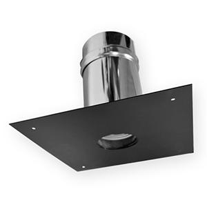 Passage de mur/plafond plaque carré 300x300 mm DW ECO Noir Ø100 mm